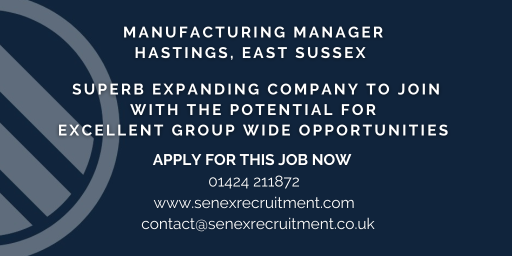 Job for Manufacturing Manager in East Sussex